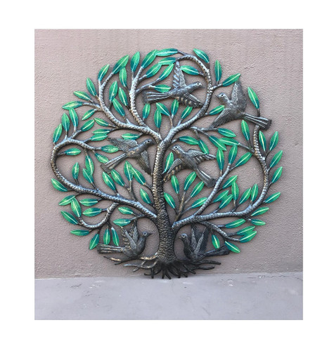 Garden Tree Painted, Metal Decor Plaque, Tree of life, Handmade in Haiti 23""