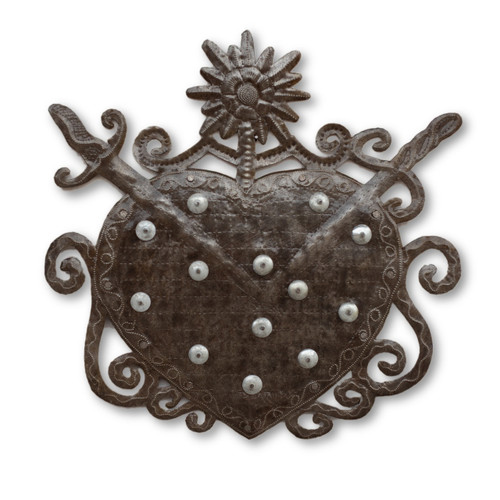 Voodoo Heart, Veve, Its Cactus, Haiti Metal Art, Sculpture, One-of-a-Kind, Limited Edition, Sustainable, Eco-Friendly, Quality, Sturdy, Reclaimed, Refurbished, Housewarming Gift, Etsy