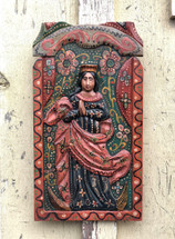"Virgin Mary Religious Hand Carved Solid Wood Decorative Panel, Wall Art 11.25"" x 20.25"""
