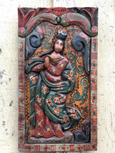 "Virgin Mary Religious Hand Carved Solid Wood Decorative Panel, Wall Art 11"" x 20"""