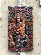 "Mary and Jesus, Religious Hand Carved Solid Wood Decorative Panel, Wall Art 11"" x 20"""