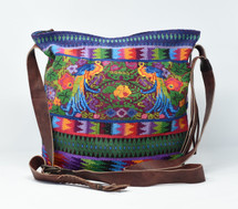 Mayan Arts Huipile & Leather Tote, Embroidered Recycled Ethnic Blouse, Handcrafted in Guatemala