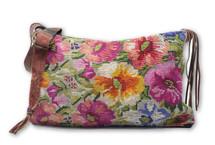 Mayan Arts Guatemalan Woven & Leather Handbags, Bohemian Purse, Antigua Colorful Hand or Shoulder Bag, Huipil Recycled Blouse