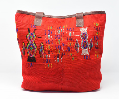 Mayan Arts Huipile & Leather Tote, Embroidered Recycled Ethnic Blouse, Lively Red, Handmade Purses from Guatemala Handcrafted in Guatemala