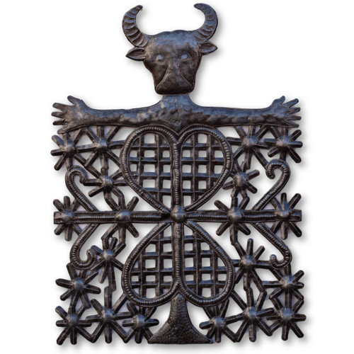 Voodoo Bull, Veve, One-of-a-Kind, Limited Edition, Sustainable, Eco-Friendly, Animals, Religious, Haiti, Handcrafted, Handmade, Recycle, Recyclable