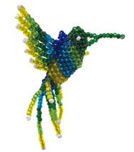 "Hummingbird, Beaded Ornamental Figurine, Assorted Colors, Christmas Tree Ornaments, Holiday Decoration, Handmade in Guatemala 2"""