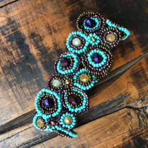 "Mayan Arts Handmade, fair Trade Bracelet Made with Seed Beads from Guatemala, Turquoise, and Purple Color Beads Magnetic Clasp 1.25"" X 7"" (Turquoise)"