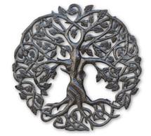 "Small Celtic Tree of Life, Metal Wall Art, Fair trade from Haiti, 17.25"""