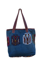Roomy Shoulder Bag, Hand Stitch Geometric Motifs, Handmade from Recycled Huipil Blouse, Rich Colored Handbags (Style 3)