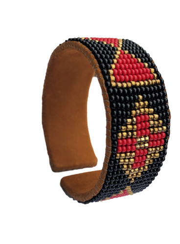 Beaded Cuff Bracelet, Black, Gold, and Red, Suede,Western, Cowgirl Jewelry , Boho look, Handmade in Guatemala