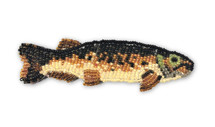 Beaded Fish Collection, Brown Tones, with pin Attached, Small Figurine, Brooch, Handmade in Guatemala 4.75""