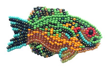 Beaded Fish Collection, with pin Attached, Small Figurine, Brooch, Handmade in Guatemala 2.75""