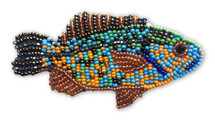 Beaded Fish Collection, Multi-Color, with pin Attached, Small Figurine, Brooch, Handmade in Guatemala 2.75""