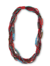 "Beaded Necklace, Red and Gold Tones, Sparkly Beads, Women Necklaces, Jewelry, Magnetic Clasps, 20"" Handmade"