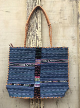 Huipile & Leather Tote Bag, Embroidered Recycled Ethnic Blouse, Jean Look, Handmade Purses from Guatemala