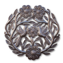 Flowers, Birds, Floral Art, Flower Decor, Limited Edition, One-of-a-Kind, Sustainable, Eco-Friendly, Recycled, Rustic, Metal Art, Handcrafted, Handmade, Metal, Steel, Fair Trade, Haiti