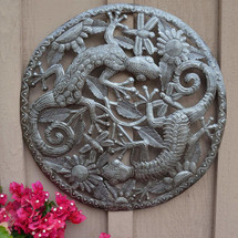 "Geckos in the Sunflowers Garden Art Made in Haiti from Recycled Metal 23"" X 23"""
