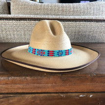 "Hat Band, Hatband, Cowboy, Cowgirl, Rodeo Western,  Leather ties, Beaded, Turquoise, red, and blue, Handmade in Guatemala 7/8"" X 21"""