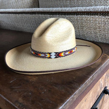 "Hat Band, Hatband, Cowboy, Western, Leather, Beaded, Multi-Color, Handmade in Guatemala 7/8"" X 21"""