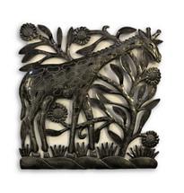 "Metal Giraffe Recycled Wall Art, Handmade in Haiti, Decorative Home Sculpture 12.5"" X 12.25"""