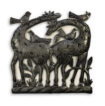 "Pair of Giraffe, Metal Wall Art Sculpture, Handmade in Haiti 12.50"" X 12.25"""
