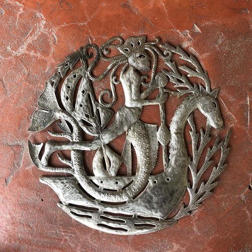 "Merman, King of The Sea, Haiti Metal Wall Art Sculpture, Limited Edition 23"""