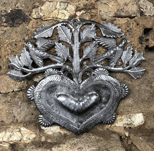 """Small Heart Wall Art, Gift Giving, Metal Flowers and Birds, Love, Friendship, Handmade in Haiti, Accent Home Decor 12"""" x 10"""""""