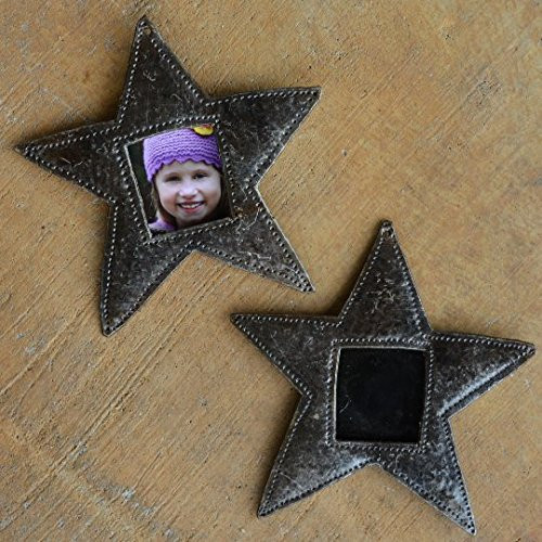 "Star Ornament, Place Setting, Frame, Hang Tag, Recycled Metal Art from Haiti, 4 1/2"" x 4 1/2"" (sold in sets of 2)"