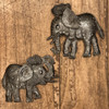 "Decorative Mini Elephants, Metal Figurines, Handmade Elephant, Set of 2, 5"" x 6"", 6"" x 6"""