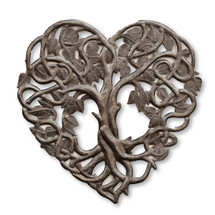 Heart Shaped Tree of Life Metal Wall Art, Contemporary Steel Artwork Decor, Celtic Family