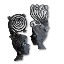 "Metal Masks, Silhouette Girls, Decorative Wall Hanging, Collectible Mask Sculptures, Eclectic, Original, Unique Steel Metal Masks from Haiti (2, Group) 7"" x 17"""