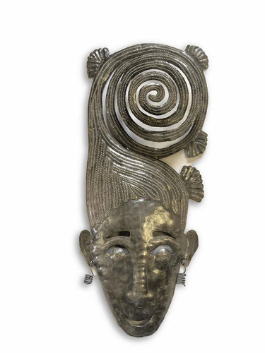 "Swirly Girl Mask Whimsical Home Decor for indoor and outdoor, Haiti Metal Art 7"" x 17"""