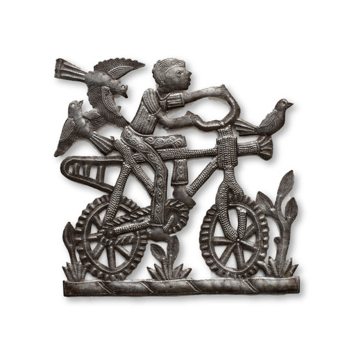 Boy Riding Bike, Birds, Fields, Bicycle, Haiti, Metal Art, One-of-a-Kind, Limited Edition, Sustainable, Eco-Friendly, Fair Trade, Haiti, Haitian