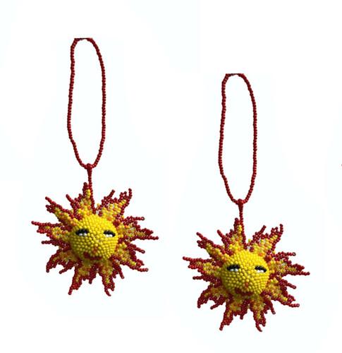 "Mayan Arts Sun, Beaded Ornamental Figurine, Color Beaded Sunburst, Smiling Sun, Christmas Tree Ornaments, Holiday Decoration, Handmade in Guatemala 2.75"""