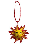 "Mayan Arts Sun, Beaded Ornamental Figurine, Color Beaded Sunburst, Smiling Sun, Christmas Tree Ornaments, Holiday Decoration, Handmade in Guatemala 2.75"" (4) …"