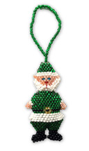 Green Santa Claus, Beaded Ornamental Figurine, Assorted Colors, Gift Topper Christmas Tree Ornaments, Holiday Decoration, Handmade in Guatemala 2.25""