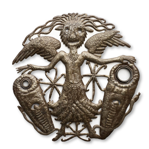 Voodoo, Wings, Demon, Drums, Stars, Mystical Creature, Religious Art, Sculpture, One-of-a-Kind, Limited Edition, Sustainable, Eco-Friendly, Fair Trade, Haiti, Haitian Metal Art