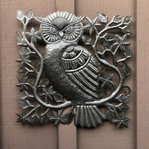"Small Garden Owl, Metal Indoor and Outdoor Wall Collection, Handmade in Haiti from Recycled Oil Drums, 17"" x 17"""