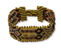 "Handmade Bracelet, Black, Yellow, and Brown Tones, Beaded, Magnetic Closure, Friendship, Shabby Chic, Boho Look, Gift, Women Fashion, Handmade in Guatemala 1"" x 6.75"""