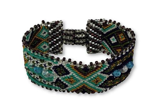 "Handmade Bracelet, Turquoise, Purple, and Green, Beaded, Magnetic Closure, Friendship, Shabby Chic, Boho Look, Gift, Women Fashion, Handmade in Guatemala 1"" x 6.75"""