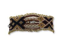"Handmade Bracelet, Black, Yellow, and Light Brown Tones, Beaded, Magnetic Closure, Friendship, Shabby Chic, Boho Look, Gift, Women Fashion, Handmade in Guatemala 1"" x 6.75"""