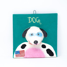 USA, Furry Friend, Dog, Perro, Whimsical Art, Colorful Home Decor, Hand Painted, Handmade, Handcrafted