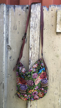 Mayan Arts Guatemalan Woven & Leather Handbags, Bohemian Purse, Antigua Colorful Hand or Shoulder Bag, Stitched Roses and birds motifs, Huipil Recycled Blouse