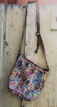 Guatemalan Woven & Leather Handbags, Bohemian Purse, Antigua Colorful Hand or Shoulder Bag, Stitched Roses and birds motifs, Huipil Recycled Blouse