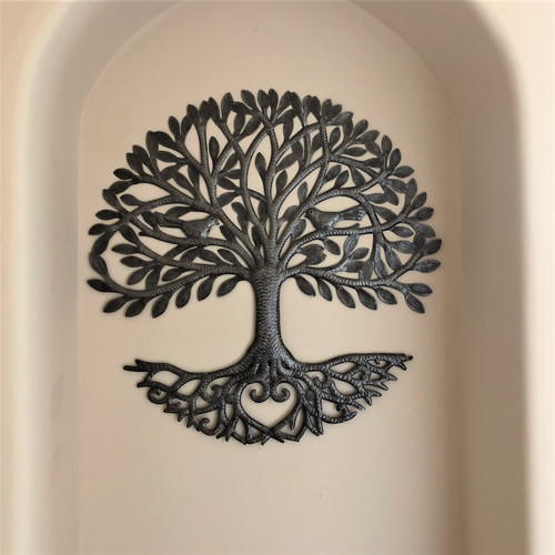Fair trade recycled steel Tree of Life