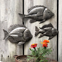 SET OF METAL FISH , SCHOOL OF SEA LIFE WALL ART