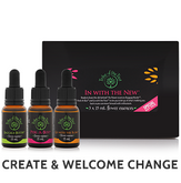 In with the New Flower Essence Kit, comprising Baggage Buster, Peek-A-Boo and Go with the Flow flower remedies