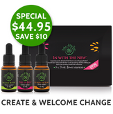 Christmas savings on In with the New Flower Essence Kit, comprising Baggage Buster, Peek-A-Boo and Go with the Flow flower remedies