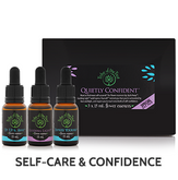 Quietly Confidence Flower Essence Kit, consisting of Up, Up & Away, Guiding Light, and Express Yourself flower remedies to support confidence, courage and self-expression