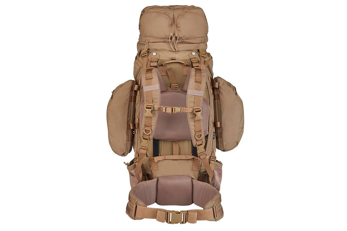 Kelty Eagle Backpack, Coyote Brown, rear view, showing padded shoulder straps and waistbelt